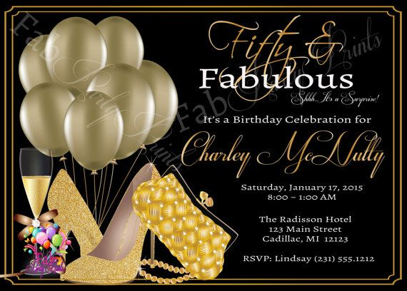 Womens 50th Birthday Invitation O Adult Party Elegant Gold Fifty
