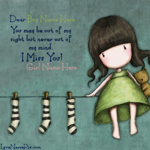 Write Name On Cute Girl Miss You Picture Love Name Generator Sad