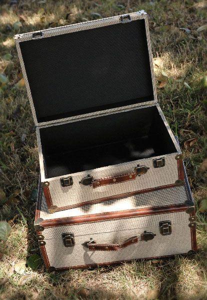 Burlap Vintage Look Luggage Case