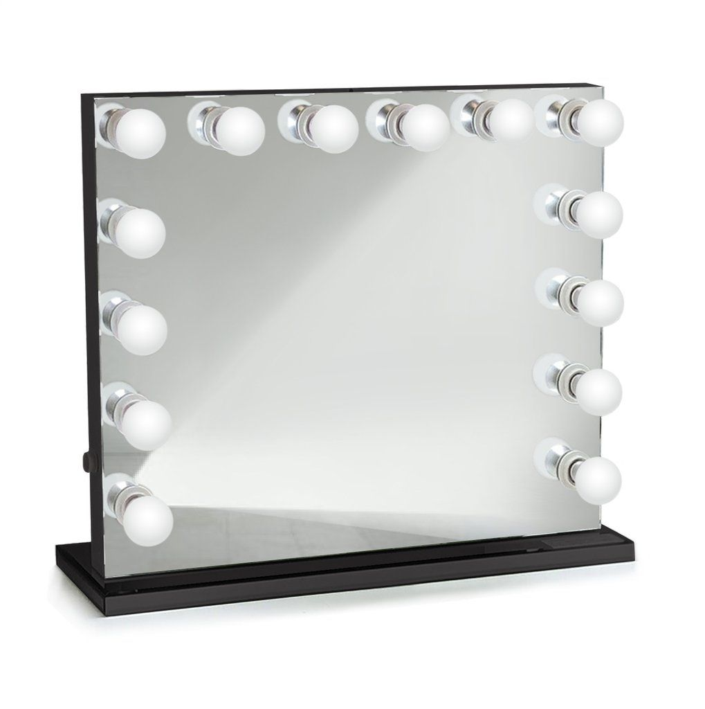 Curacao Black Dimmable Hollywood Mirrors Table Top Or Wall Mount Plug In In 2020 Lighted Vanity Mirror Vanity Mirror Hollywood Mirror