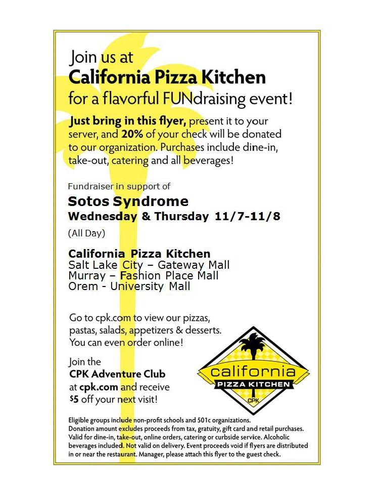 Sotos Syndrome Fundraiser At All Locations Of California Pizza Kitchen In  Utah November 7th And 8th (click On The Link For More Details) And Repin To  Spread ...