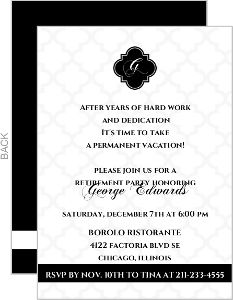 black and white formal retirement invitation ron s retirement