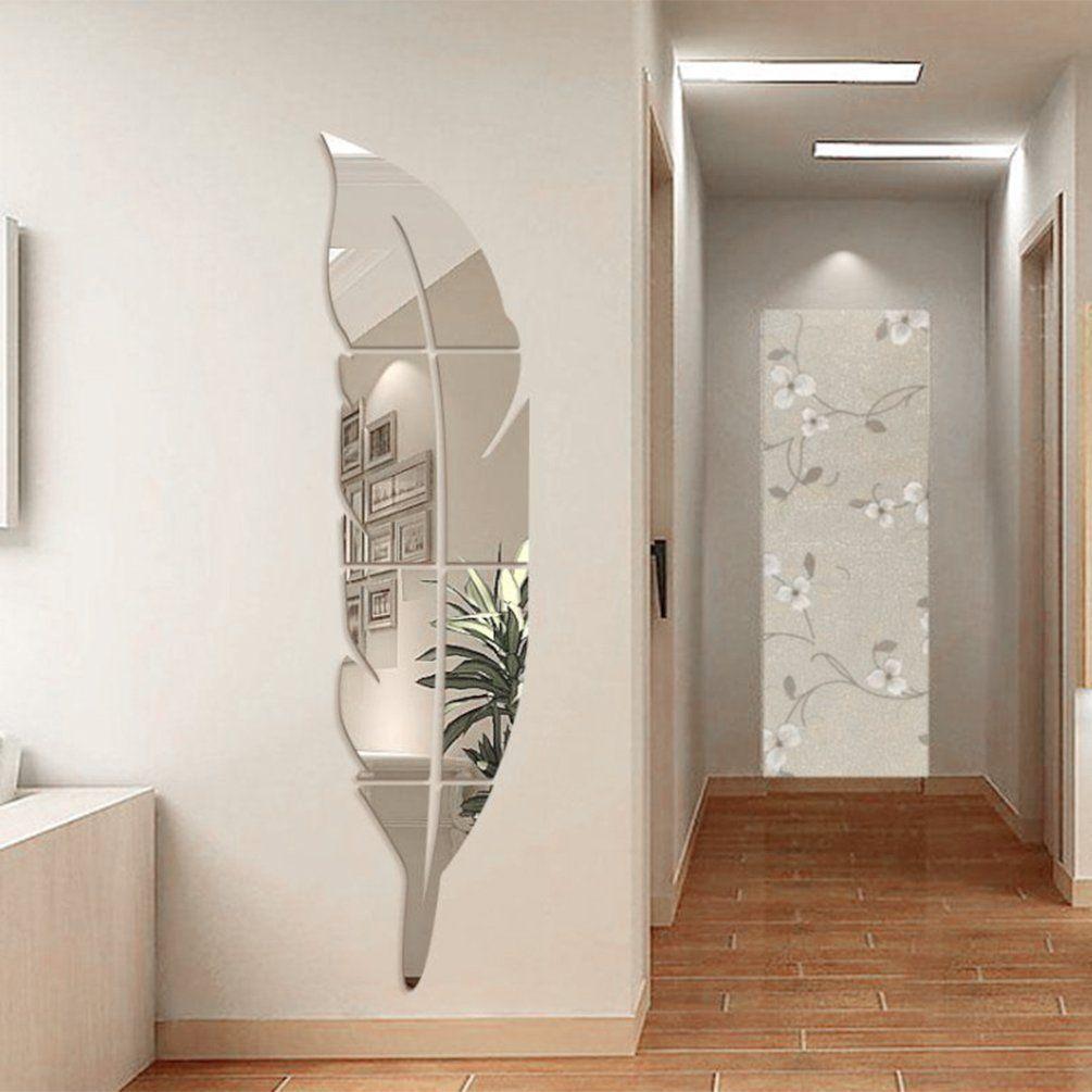 YNuth Stickers Miroir Effet Plume Design Pour Salon Chambre Salle De ...