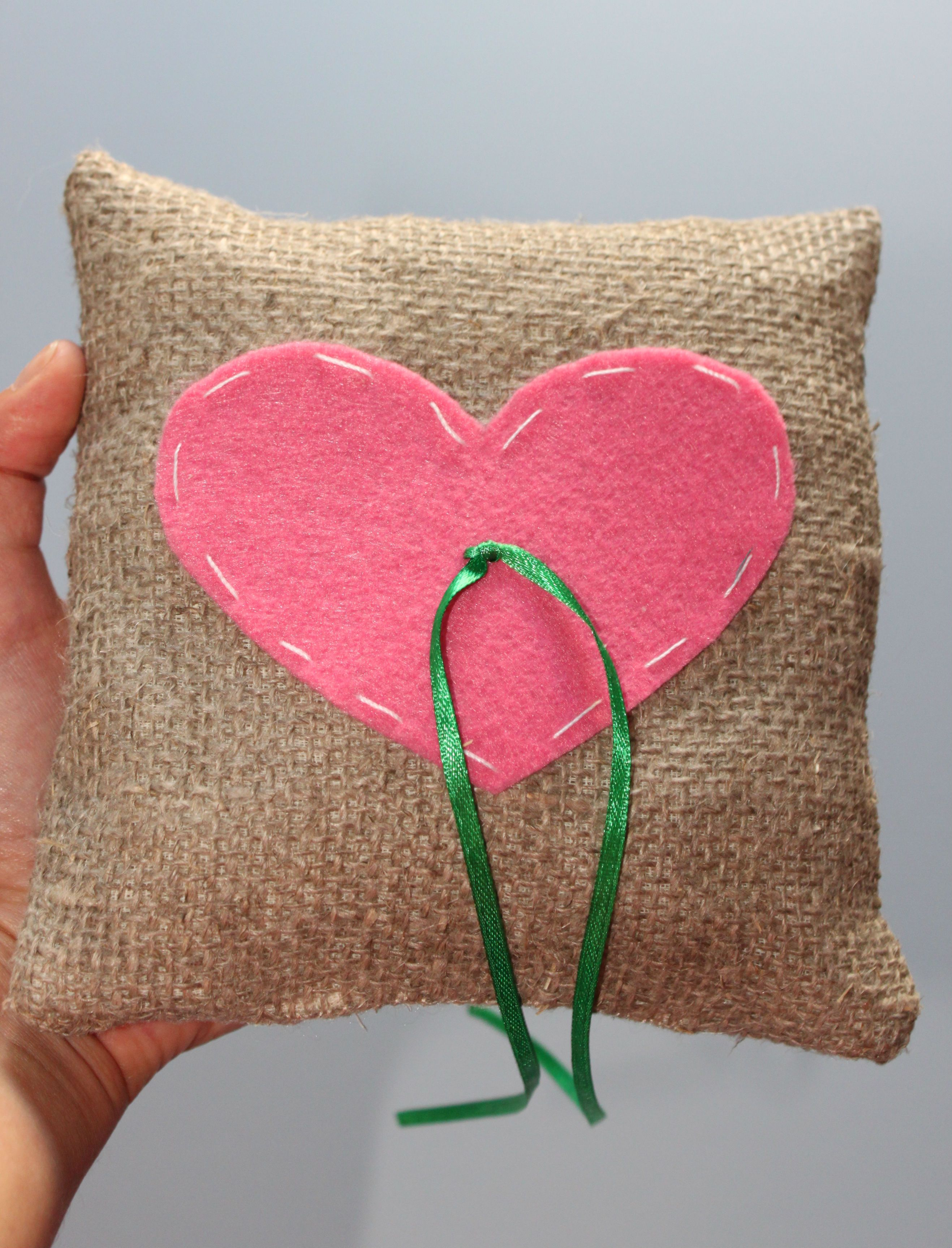 Wedding ring pillow with heart | Handmade decorative pillow covers ...