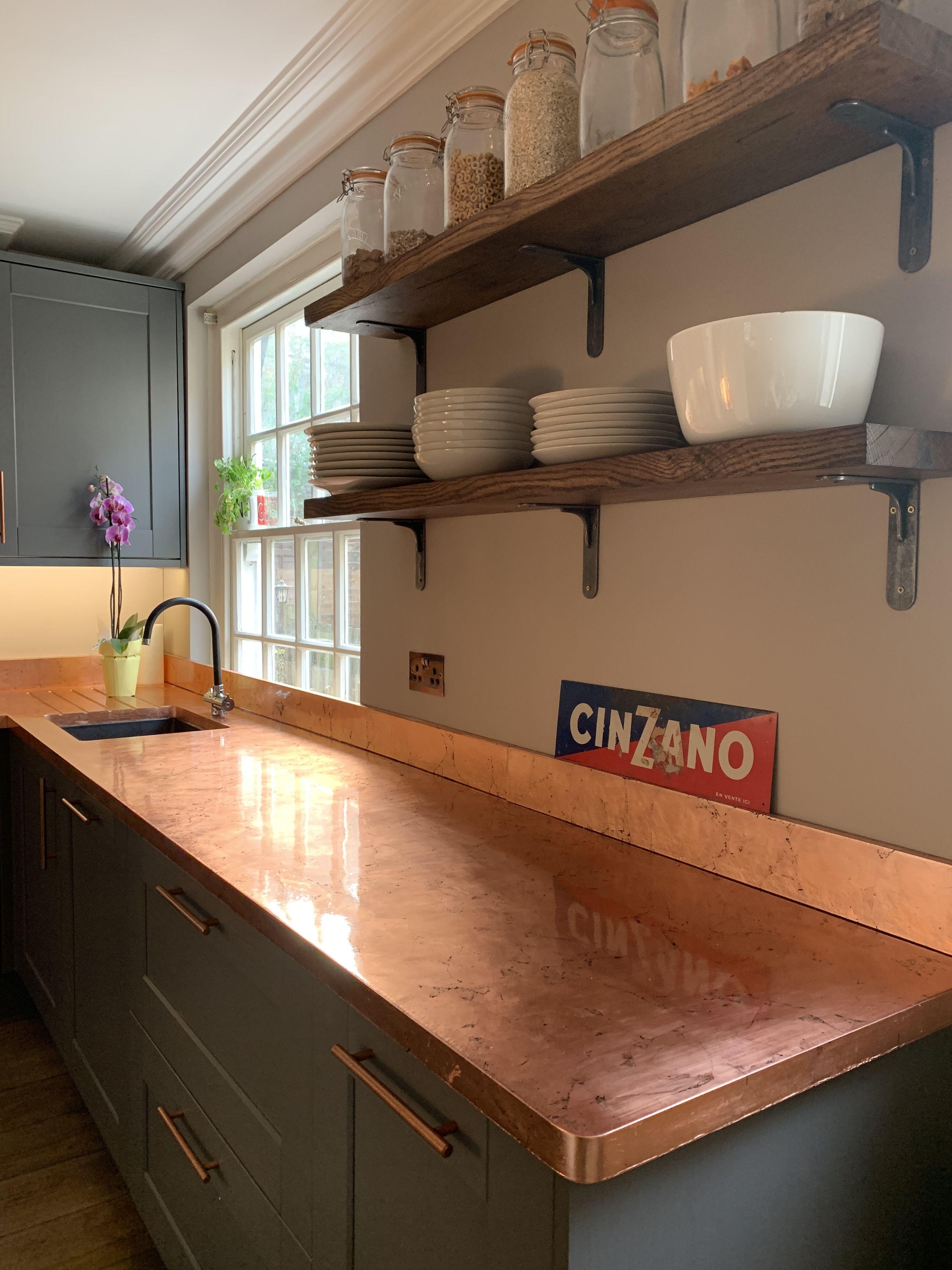 Copper Kitchen Counter Worktop Copper Counter Kitchen Worktop Diy Kitchen Remodel Kitchen Remodel Small Kitchen Worktop Makeover