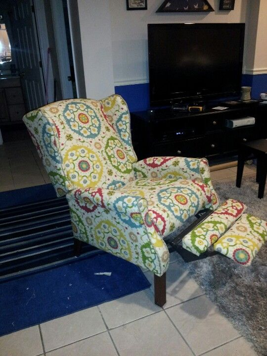 My Thrift Store Wingback Reclining Chair I Recovered
