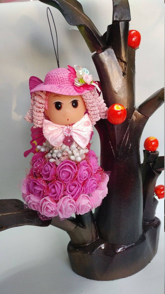 Angel Christmas Ornament, Christmas Bell Ornament, Pink Doll
