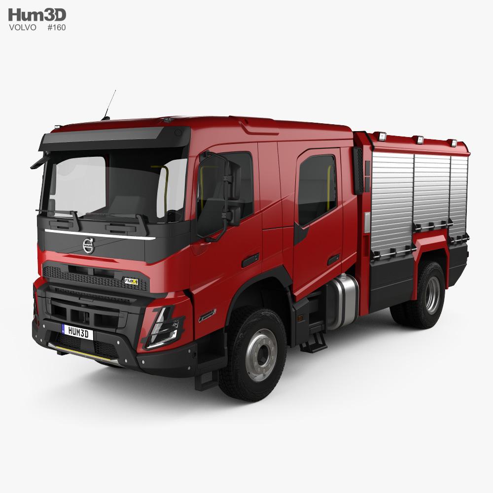 Volvo Fmx Crew Cab Fire Truck 2020 3d Model In 2020 Fire Trucks Crew Cab Trucks