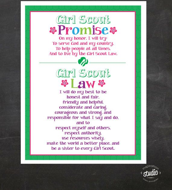 Girl Scout Promise and Law Printable by jjinspirationstudio | Girl ...