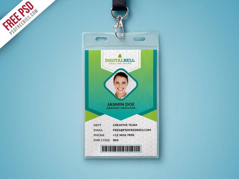 Free Psd Multipurpose Photo Identity Card Template Psd Id Card Template Card Templates Free Employee Id Card