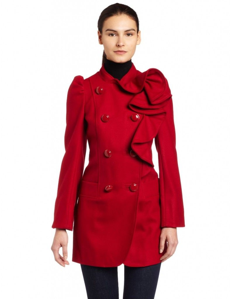 best red dress red wood coat french connection frill ruffle coat ...
