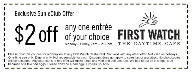 Pinned August 10th $2 off an entree at #FirstWatch daytime cafe - free lunch coupon template