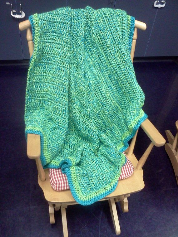 Green and Blue Baby Blanket / Lime Green Afghan / by tinybabylady, $40.00