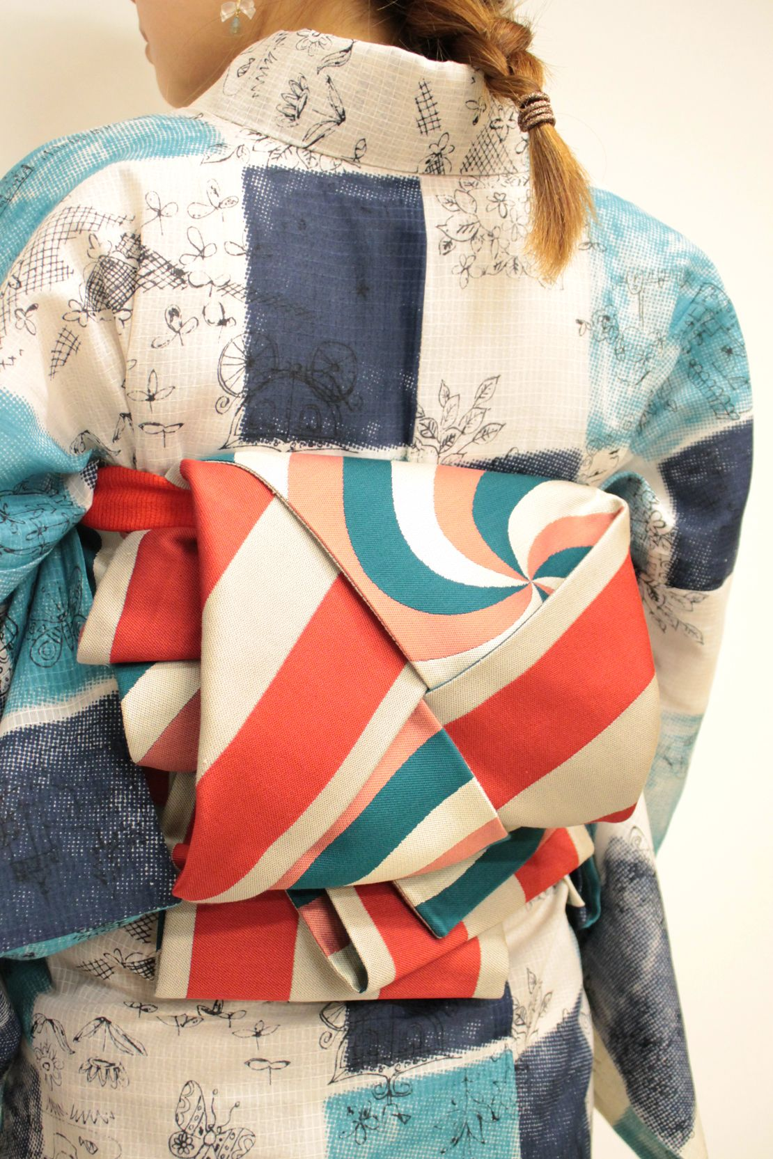 [Uz (generation pink turquoise) × border (red)]   modern antenna Kimono Shop