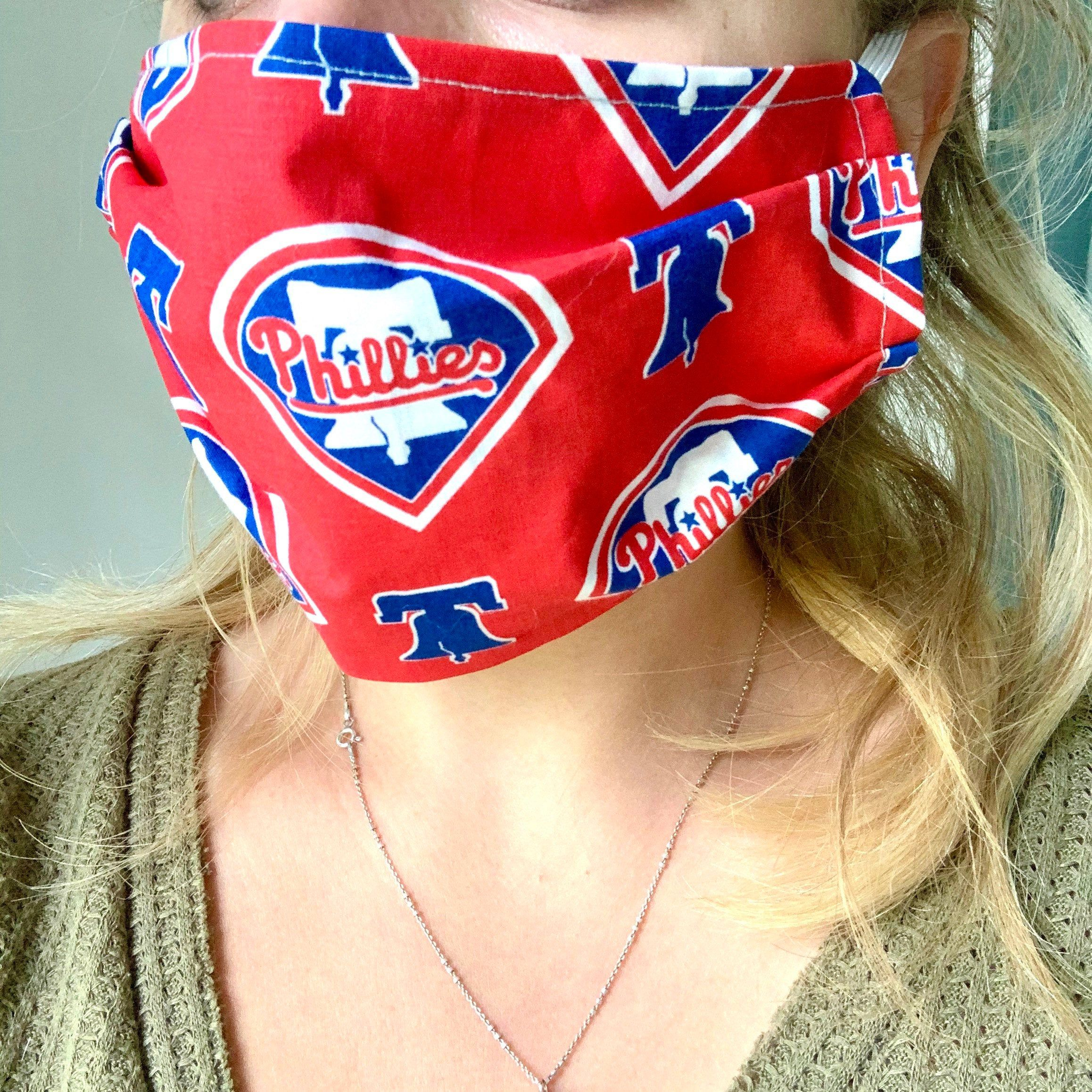 Philadelphia Phillies Mask With Filter Pocket Phillies Mask Etsy In 2020 Face Mask Philadelphia Phillies Mask
