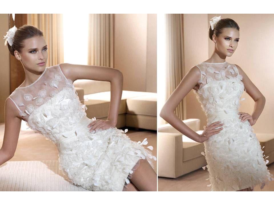 Perfect Textured pronovias wedding dresses city short lace wedding reception dress bateau neck romantic figeuras from Pronovias
