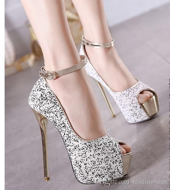 For Women Party Sequins And Stiletto Heel Peep Toe Shoes