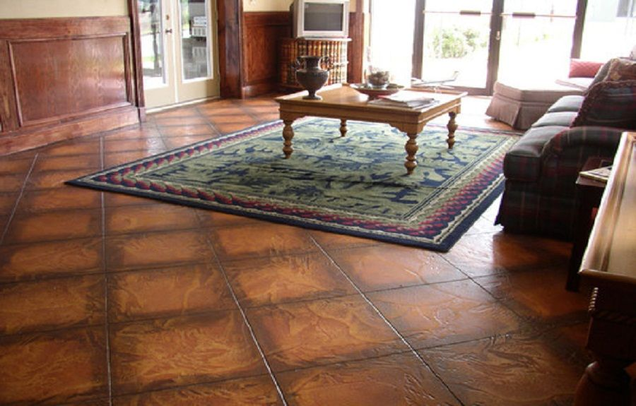 Painted Stamped Concrete With Dark Accents Painted Concrete Floors Modern Floor Tiles Modern Flooring