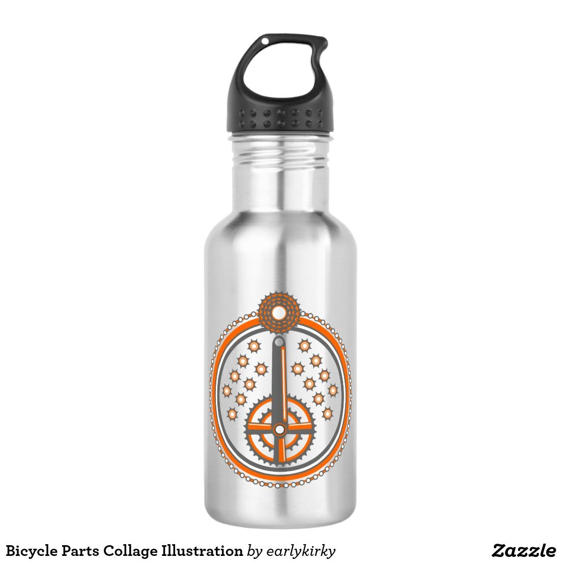 Bicycle Parts Collage Illustration Water Bottle