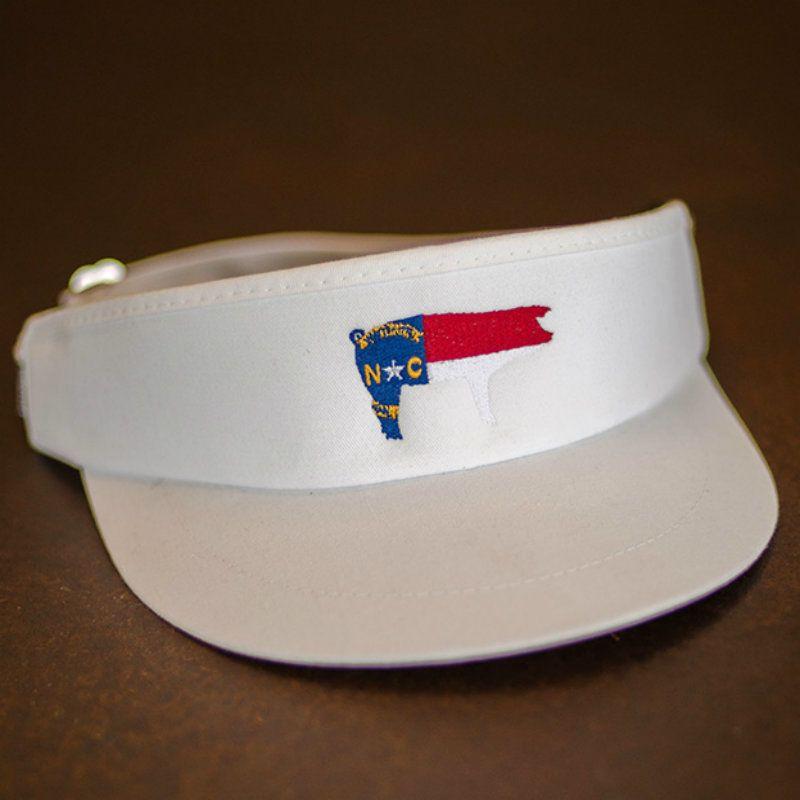 NC Pig Flag White Imperial High Crown Golf Visor  be27e31c7dc