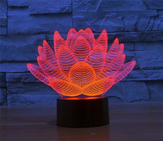 Lotos Blooming Lotus 3d Model Abstract Visual Optical Illusion 7 Color Change Touch Switch Nightlight Led Desk Lamp Amazon 3d Night Light Lamp Night Light
