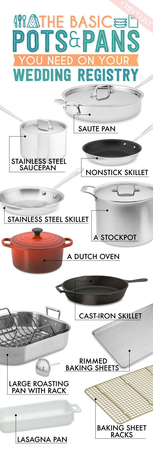 Checklist Pots and Pans Wedding registry checklist
