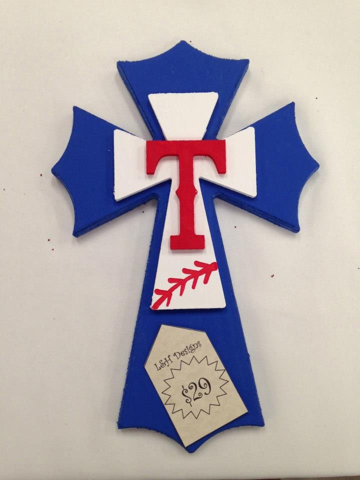 Texas Rangers Cross. $29. Two order options: www.facebook.com/landhdesigns or email us at lhdesigns13@gmail.com