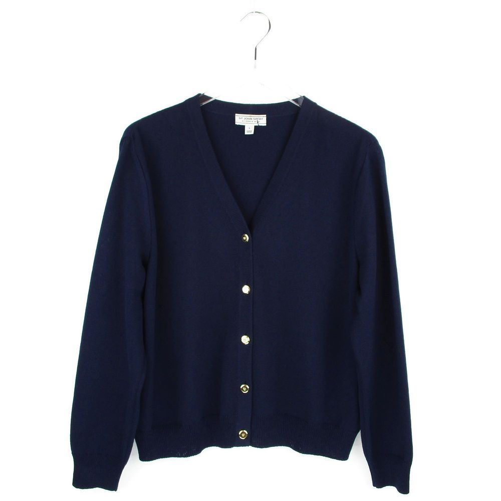 St John Sport Cardigan Large L Santana Knit Sweater Navy Blue Gold ...