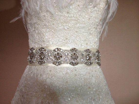 SWAROVSKY Wedding sash 17 Rhinestone Bridal belt  by VioGemini, $159.99