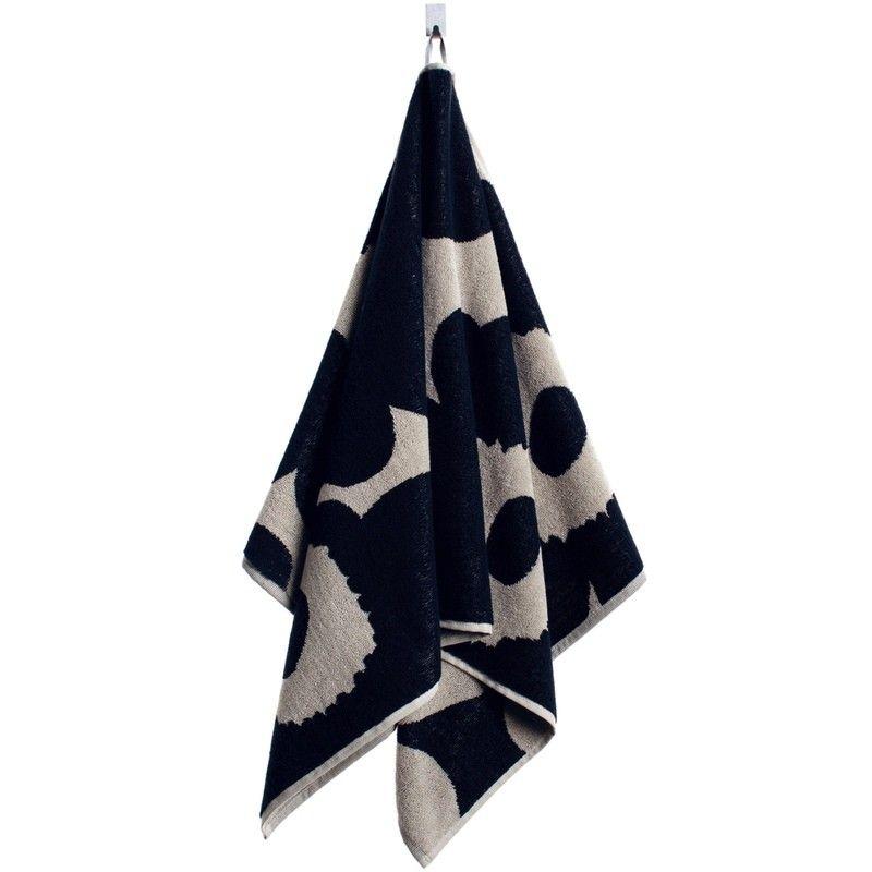 Marimekko Unikko Hand Towel Black Sand