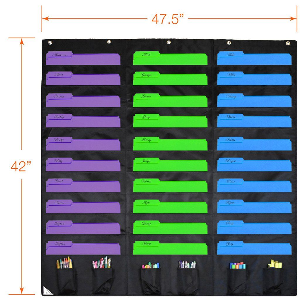 Compono 30 Pocket Storage Pocket Chart And Hanging Wall File Organizer With 6 Accessory Pockets Black Pocket Chart Wall File Organizer Wall File