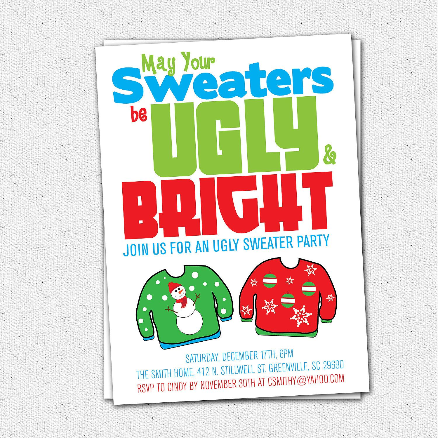 Ugly Sweater Party Invitation Tacky Holiday Christmas Printable