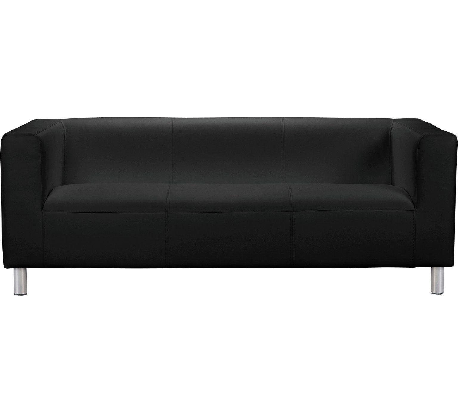 Buy Argos Home Moda 3 Seater Faux Leather Sofa Black Sofas Argos Faux Leather Sofa Leather Sofa Black Sofa