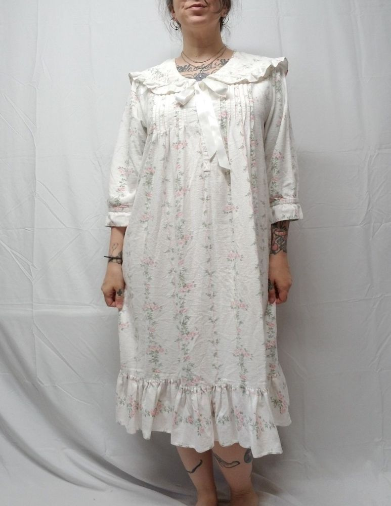 Vtg Romantic Victorian Cotton Flannel Pintuck Nightgown Granny Gown ...