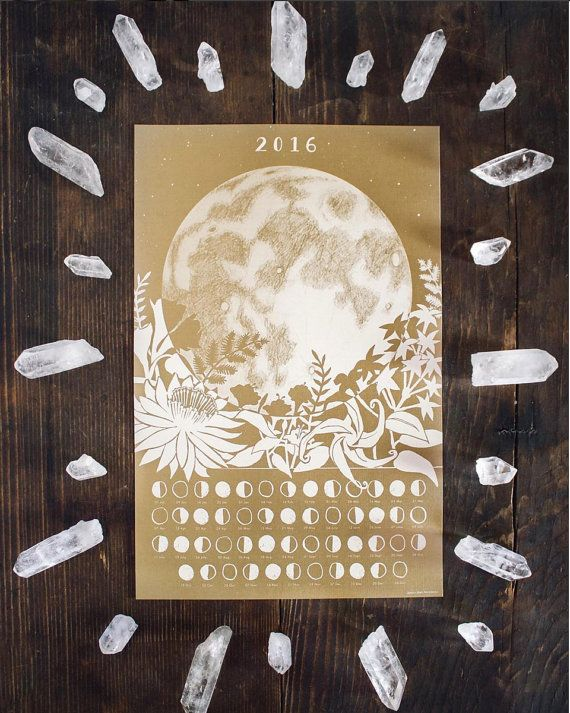 2016 Lunar Calendar Poster Wall Calendar Moon Phase door TheFarWoods