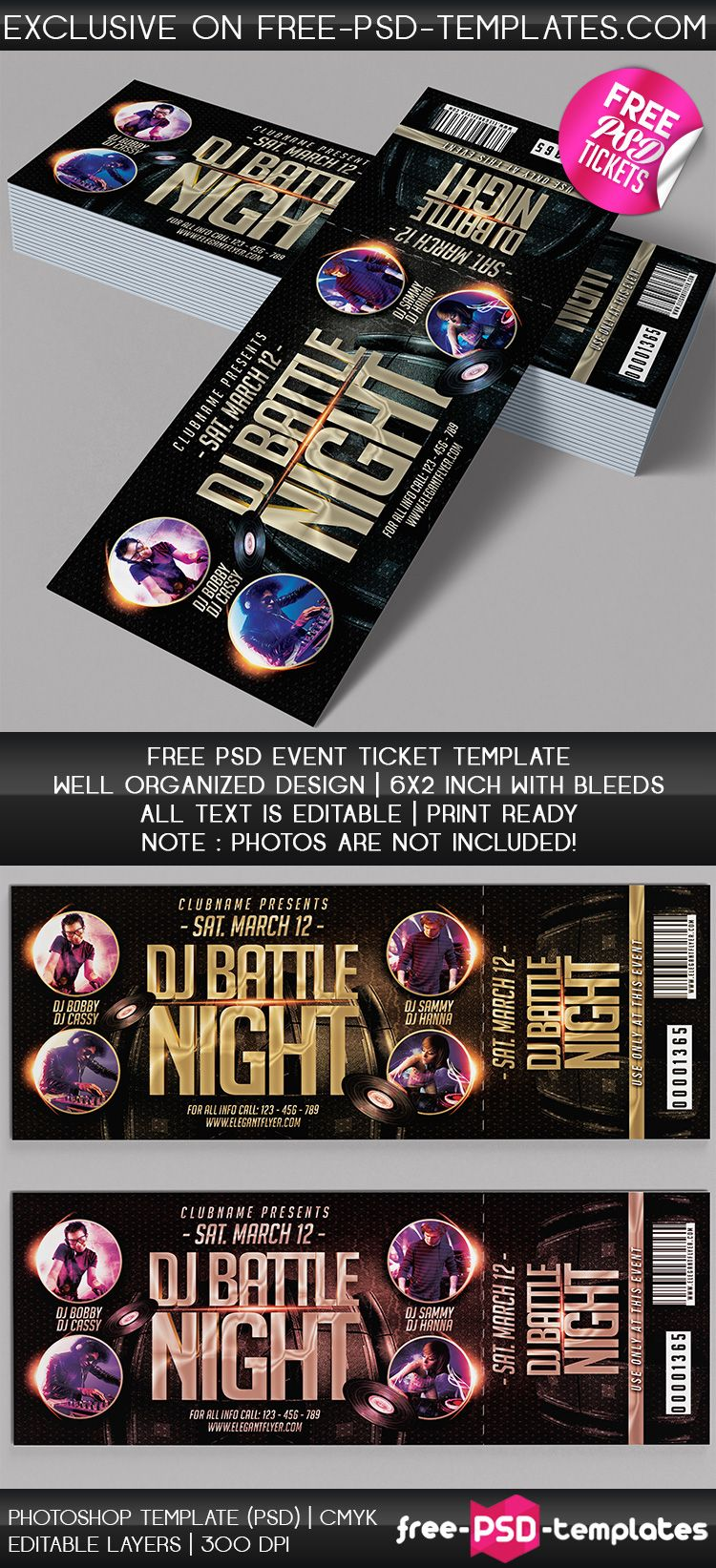 Download Event Tickets Free PSD Template Now Very Beautiful Event - Event ticket template photoshop