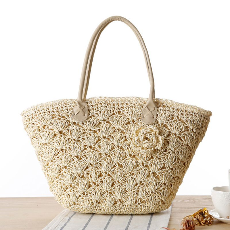 088a55022191 2017 Summer Beach Bag Straw Large Zipper Woven Straw Handbags Casual ...