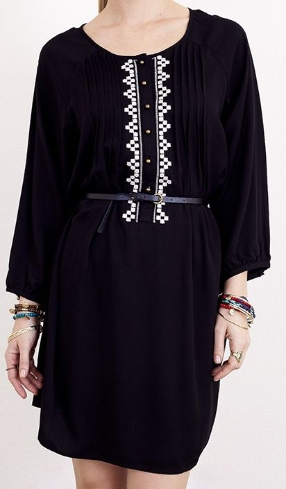 Blue Bohemian - Black Dress with White Embroidery , $52.00 (http://www.blue-bohemian.com/black-dress-with-white-embroidery/)