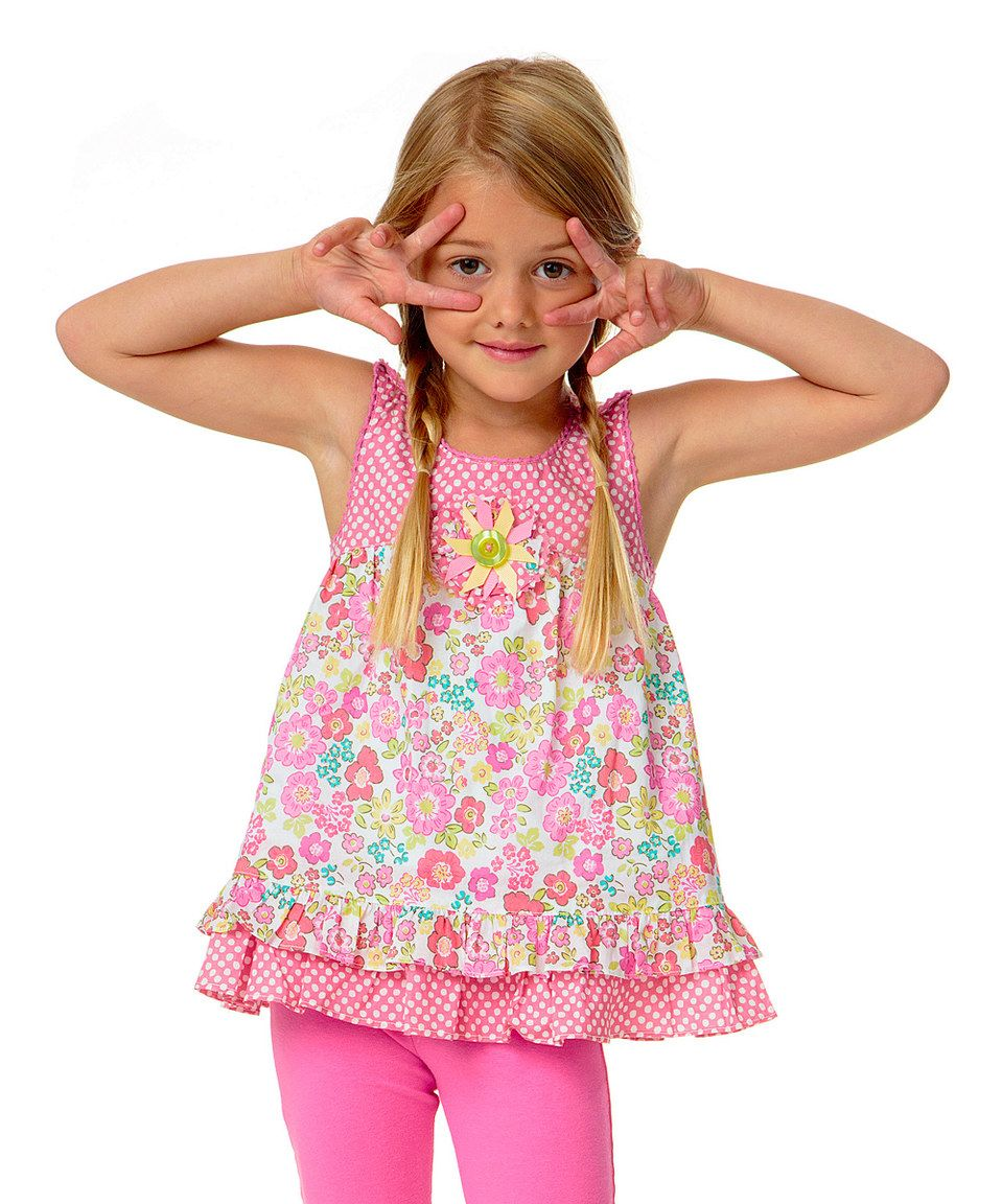 Another great find on #zulily! Pink Floral & Polka Dot Woven Tunic - Infant & Toddler by Candy Bean #zulilyfinds