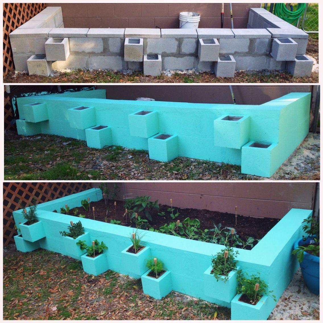 DIY cinder block raised vegetable garden bed. Separate ...