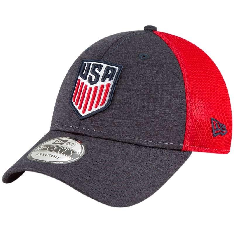 Us Soccer New Era Tech Trim Adjustable Mesh Hat Heathered Navy Mesh Hat Patriots Snapback Adjustable Hat