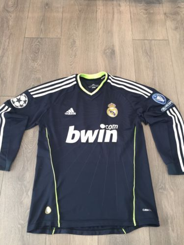Real madrid away shirt 2010/11 long #sleeved #champions league patches #official,  View more on the LINK: http://www.zeppy.io/product/gb/2/172198815277/