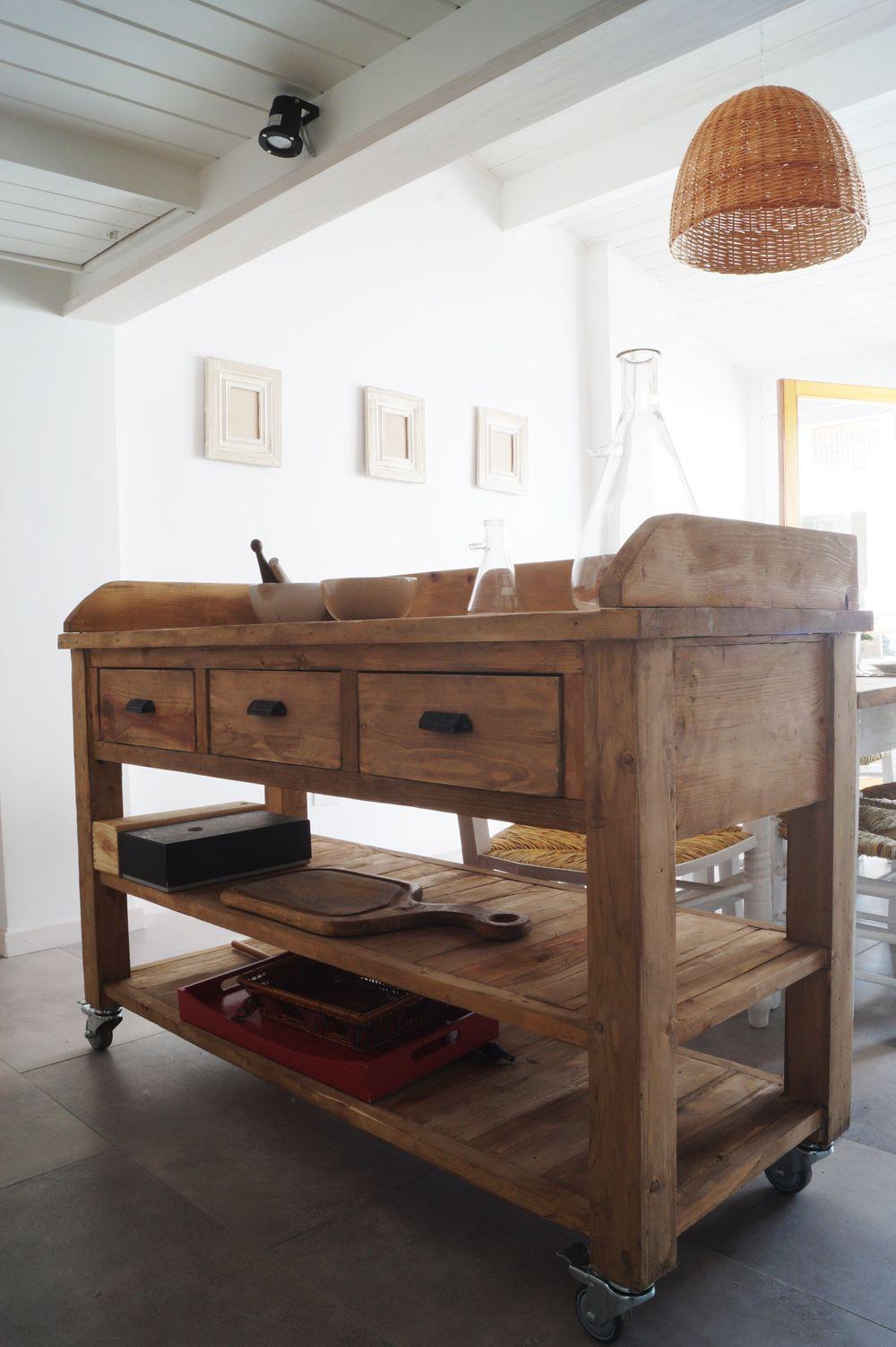 Mueble de apoyo con cajones y ruedas antigua madera for Ruedas industriales antiguas para muebles