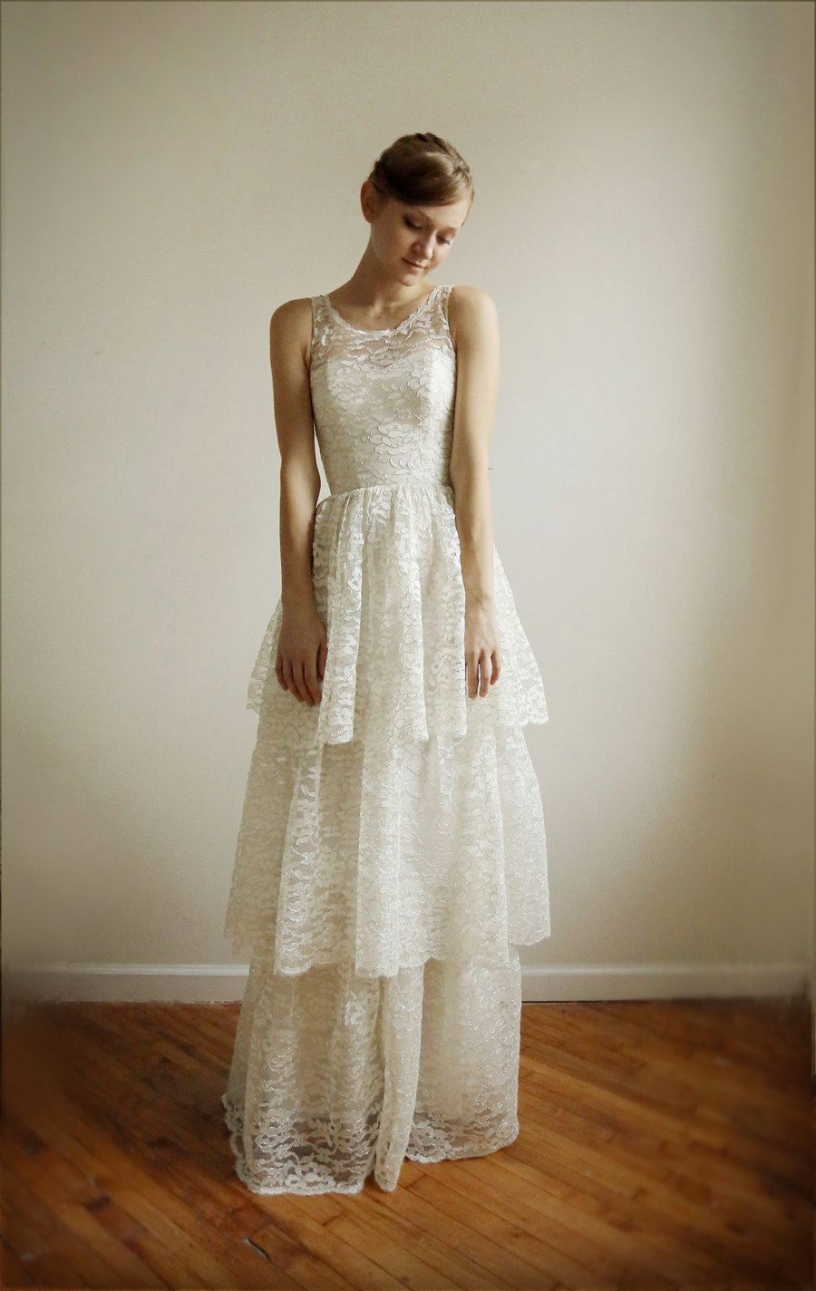 Lace dress gown  Tiered dress  WEDDING DUDS  Pinterest  Tiered dress Ivory and Gowns