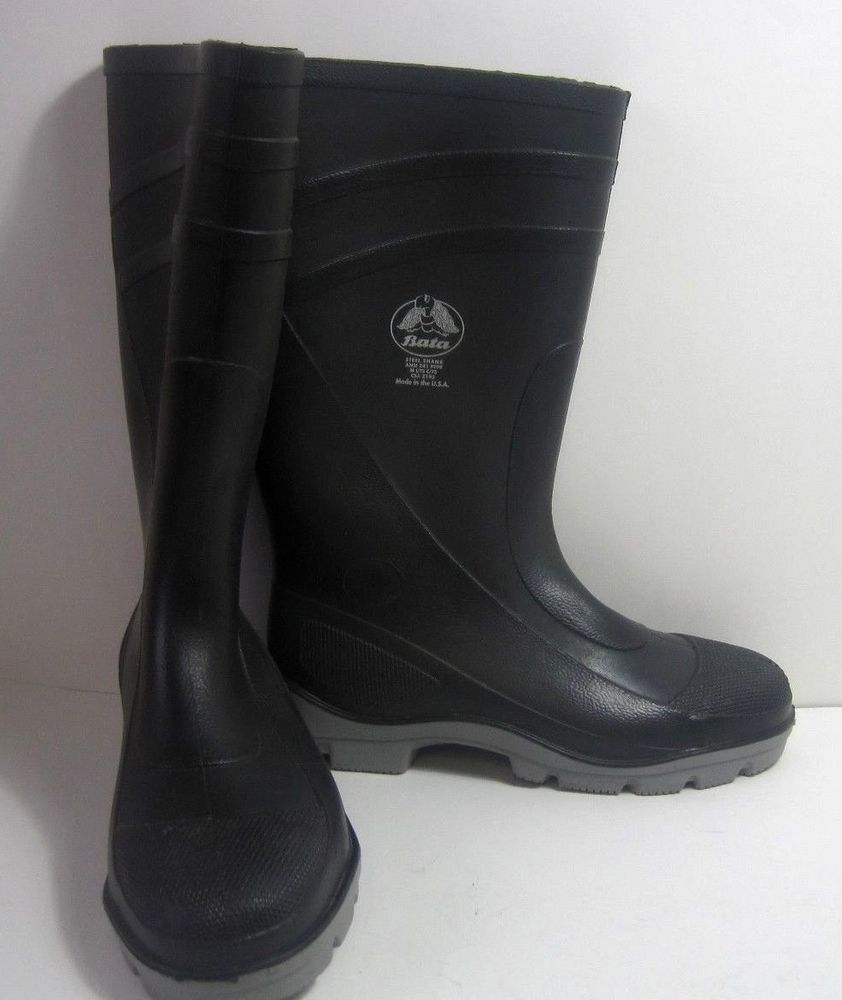 1e2f4f72f11 Bata Steel Shank Steel Toed Rubber Rain Boots 22 Inches Tall Size 9 ...