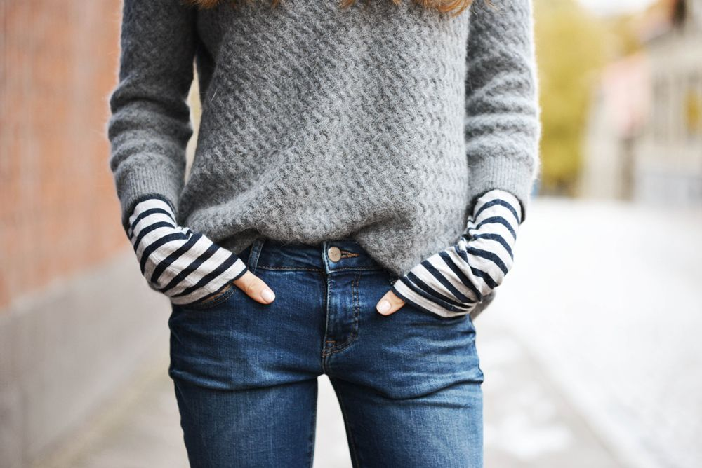 layers for fall - long striped shirt under grey sweater with jeans