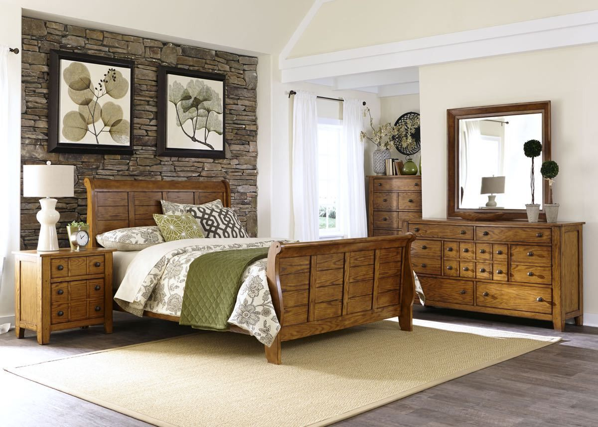 Liberty Furniture Aged Oak Queen Bedroom Set , Queen Bedroom Set   Liberty  Furniture, My