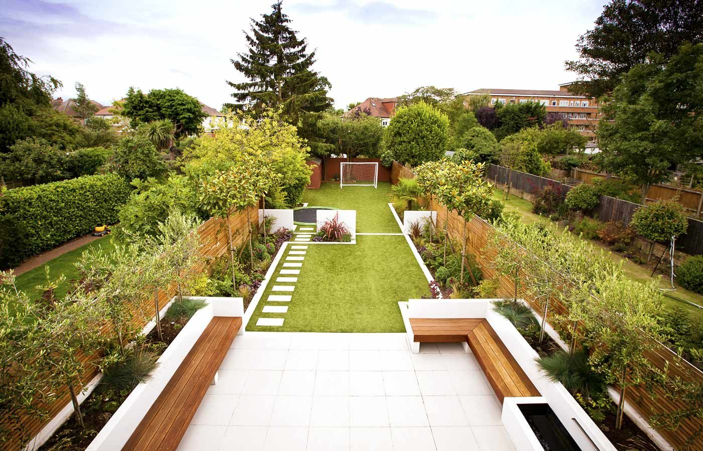 Zoned Garden Nice Use Of Small Trees As Screening Long Garden Design Ideas