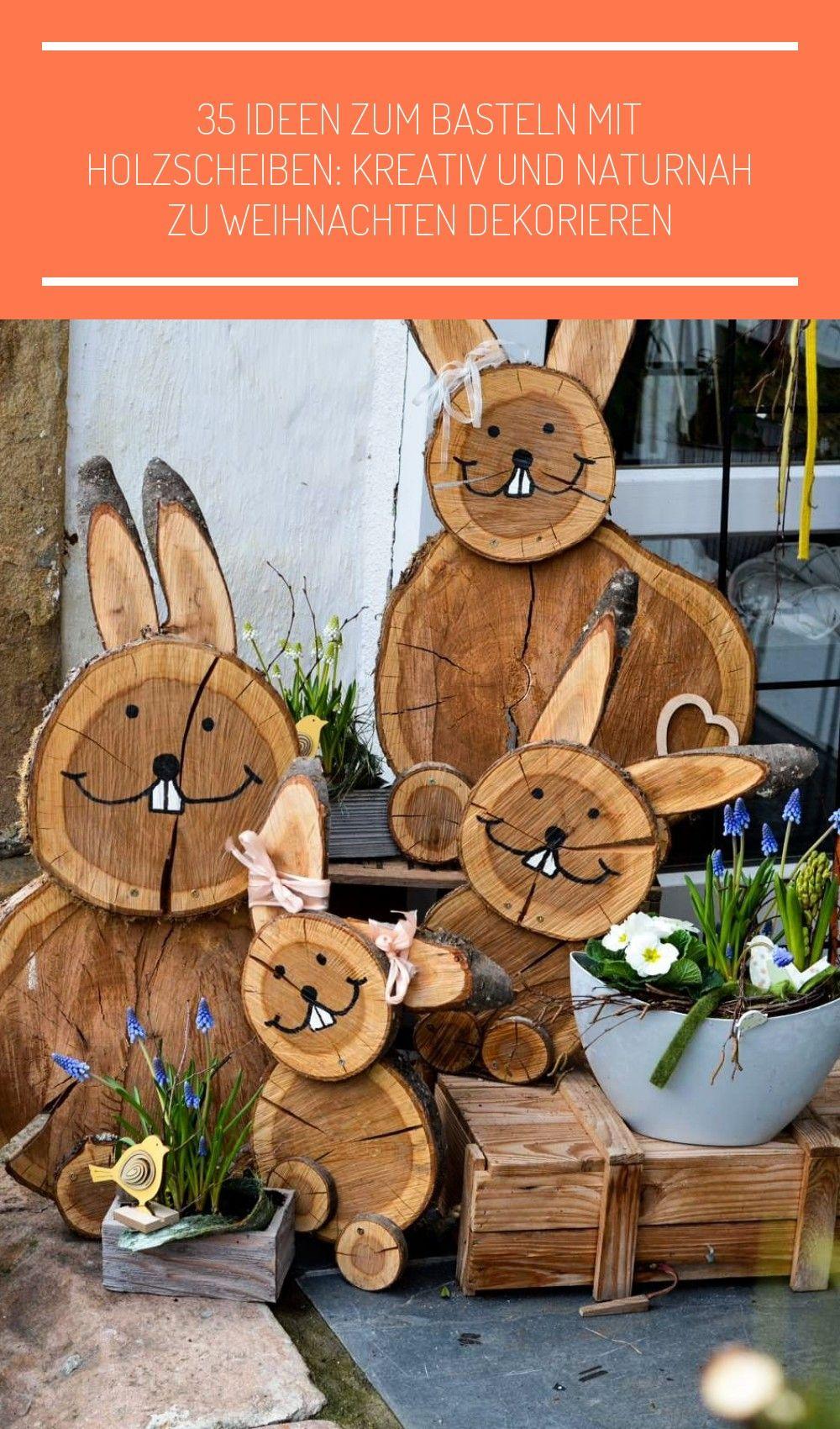 Diy Projekt Osterhasen Aus Baumscheiben Holzscheiben Deko Garten Diy Osterhasen Aus Baumscheiben In 2020 Spring Wood Crafts Diy Projects Easter Wood Crafts Diy