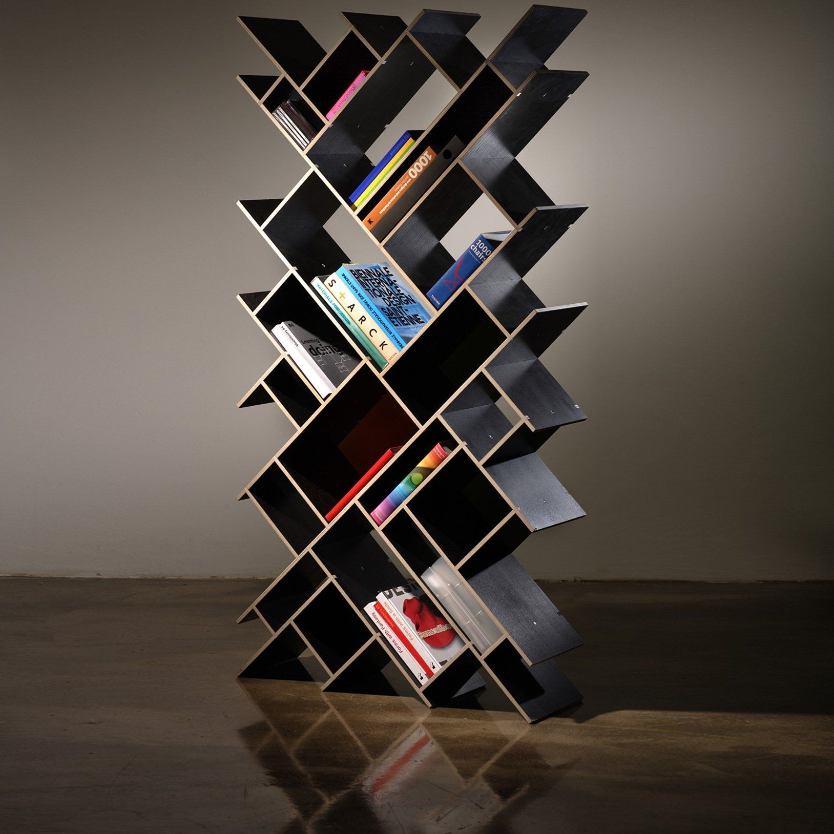 """Quad Oblong Bookcase is a multifunctional storage solution that boasts an elegant and modern design. Can be used singly or in multiples to provide excellent, efficient storage space. Shelves: Made of plywood finished in melamine (black or white) Back panels: Made of HDF plate. Measures 63"""" h x 31.5"""" w x 10"""" d. Please allow 6-8 weeks for shipping."""